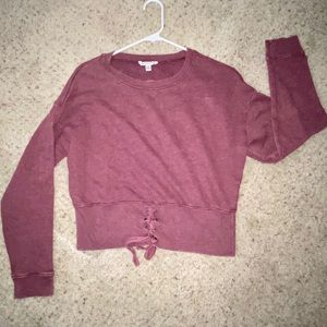 American Eagle Crop Pullover Sweatshirt Lace up